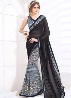Black White Border Lace Work Weightless Half N Half Print Designer Casual Saree http://www.angelnx.com/Sarees/Designer-Sarees