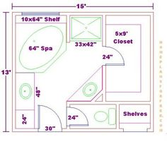 Bathroom Floor Plans | ... Bathroom Design 13x15 Size/Free 13x15 Master  Bathroom