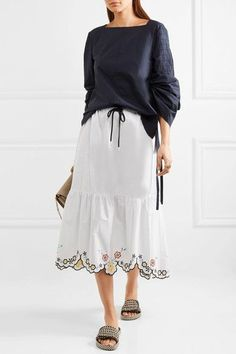 See by Chloé - Scalloped Embroidered Cotton-poplin Midi Skirt - White - FR42