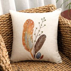 Feather throw pillow Art Hand drawn couch cushions linen 18 inch