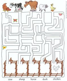 Zoek de weg van de dieren naar hun eigen wei, free printable):