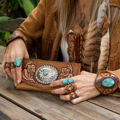 Western Floral Wallet with Navajo Concho #navajo #turquoise #wallet