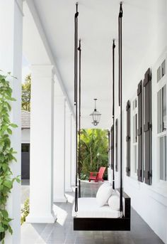 Modern porch swing - House & Home Design Exterior, Patio Design, Swing Design, Floor Design, Modern Porch Swings, Outdoor Swings, Outdoor Ideas, Modern Patio, Outdoor Decor