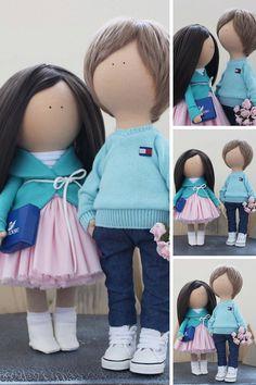 Portrait dolls Couple dolls Rag doll Bambole by AnnKirillartPlace