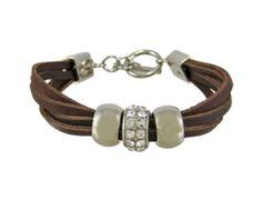Amazon.com: Brown Leather 3 Bead Multi Strand Bracelet: Jewelry