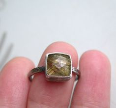 Golden Rutilated Quartz Sterling Silver Ring by studio94 on Etsy, $65.00...ALSO good size and cheap for remounting!