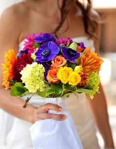 Another colorful bouquet.  Like rich pinks, oranges, mixed with some purple/blue