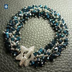 ♥ Fabulous Half Teal Blue Metallic Crystal Silver Plated Bracelet