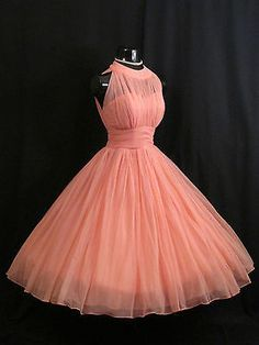 Vintage 1950's 50s Halter Coral Peach Chiffon Organza Prom Party DRESS