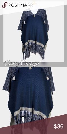 Navy Blue and grey poncho sweater Dark blue and grey poncho sweater. Tassel details across chest and on hem. Acrylic Accessories Scarves & Wraps
