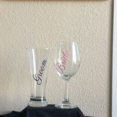 Bride and Groom Glasses-Wedding Wine Glasses-His & Hers Toasting Glasses-Bridal Shower Gift-Bridal Party Gift-Engagement Gift-Wedding Gift