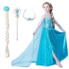 2015 elsa robe filles Costumes pour enfants snow queen cosplay robes princesse anna robe enfants robes de soirée fantasia vestidos