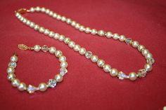 Vintage Off White Faux Pearl and Crystal Necklace by bellendesigns, $13.75