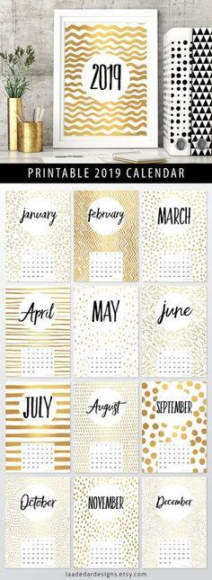 2019 Printable Calendar Gold A4 Instant Download 12 Month 2018 Printable Calendar, Printable Planner, Planner Stickers, Printables, Art Calendar, Wall Calender, Calander, Diy Kalender, Kalender Design