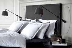 Masculine master bedroom in charcoal grey and white
