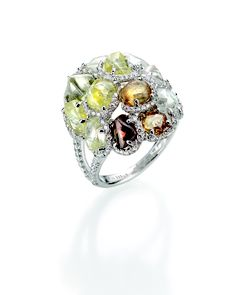 Diamond in the Rough multicolored cocktail ring with 11.8 carats of natural rough diamonds