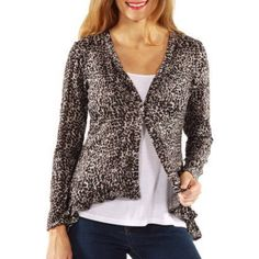 24/7 Comfort Apparel Women's Grey Animal Print Long Sleeve Ruffle Shrug, Size: XL, Multicolor