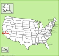 Fresno location on the U.S. Map