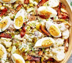 Újkrumpli saláta baconnel, kovászos ubival