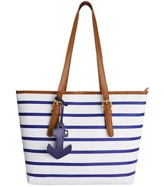 Coofit Stripes Shoulder bag Womens Handbag PU Leather Purse with Sea Anchor Pendant >>> Trust me, this is great! Click the image.