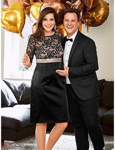 Guido Maria Kretschmer - Cocktailkleid mit Spitze schwarz im heine Online-Shop  kaufen e41dc138aa