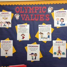Olympic values for the first quarter School Classroom, Classroom Themes, Olympic Idea, Olympic Games, School Wide Themes, Reading Themes, School Displays, Meet The Teacher, School Items
