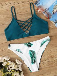 Lattice Top With Palm Print Bikini Set bikinis bikini for small chest,swimwear to enhance small bust,Best Bikinis This Summer's Best Cute Swimsuits, Cute Bikinis, Women's Bikinis, String Bikinis, Bikini Outfits, Cute Bathing Suits, Beachwear For Women, Bikini Swimwear, Summer Swimwear