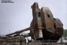 This is a salvaged turret from the WW2 Japanese battleship Mutsu.