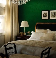 I Like The Gold And Black Headboard With Green Wall Take Out Chandelier