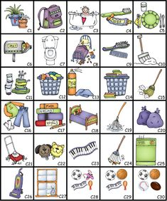 chore+pictures | home chores border color menu for chore charts chores
