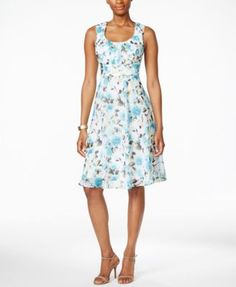 Connected Petite Sleeveless Floral-Print Empire-Waist Dress