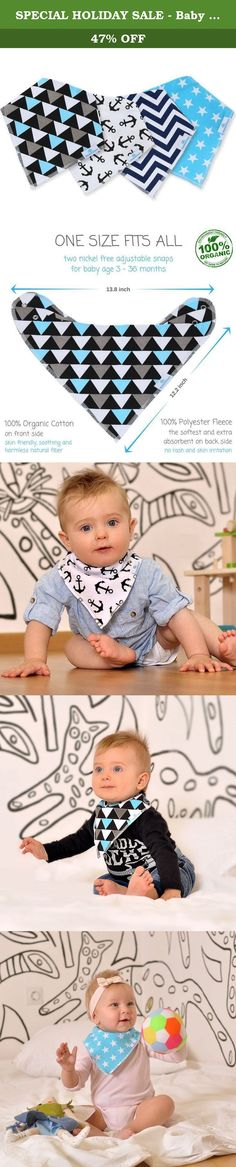 SPECIAL HOLIDAY SALE - Baby Bandana Drool Bibs for Drooling and Teething, Very Cute Super Soft and Extra Absorbent Bib for Boys and Girls to Protect Babies Clothes and Skin, Unisex 4-Pack Gift Set. You can now purchase the cutest fashion accessory that will keep your baby stylish, trendy AND his or her clothes clean and dry from drooling! MOMS AND DADS, FINALLY THE BIBS THAT COMBINE FUNCTION & STYLE! Here are more reasons that are going to make you want to purchase our bibs immediately: ✔...