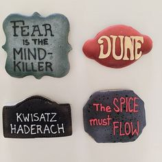 I realize that I never posted my Dune themed birthday cookies for my sister. Baked on chai flavored cookies for extra spice! Baking Cookies, Birthday Cookies, Chai, Dune, Cookie Decorating, Spices, Bird, Desserts, Tailgate Desserts