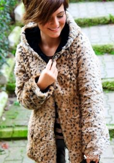 Leopard Print Long Sleeve Coat with Hood