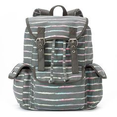 Candie's Anna Striped Backpack (Grey) featuring polyvore, fashion, bags, backpacks, grey, drawstring bag, grey bag, striped buckle backpack, pattern bag and drawstring backpack