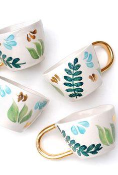 Handmade Leaf Patterned Mugs | Etsy