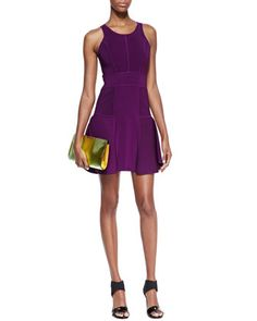 Knit Fit-&-Flare Dress, Plum by Milly at Neiman Marcus.