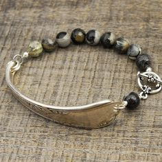 Spoon handle bracelet with dark silver leaf jasper beads 7