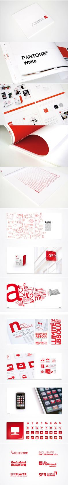 Red & white. Mucho white space. Bold