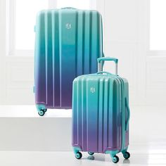 Travel in style! From sleepovers to traveling to new cities, bring this suitcase bundle set on any adventure. Designed with in-line wheels and durable outer shell, this channeled checked and carry-on spinner can withstand years of wear and tear. Its roomy interior lets you safely take your clothes and souvenirs anywhere. Stylish and sturdy, let this set be your traveling companion.  Pottery Barn Teen - Channeled Hard-Sided Ombre Luggage Bundle