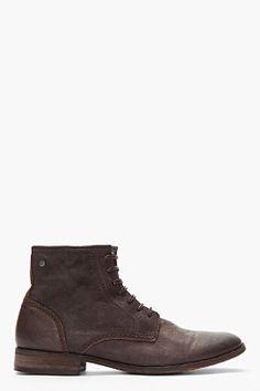 Diesel Dark Brown Leather Chrom Hi Boots for men | SSENSE