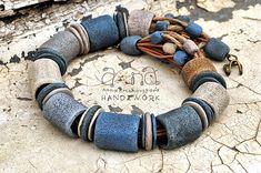 Polymer Clay Necklace, Polymer Clay Beads, Polymer Clay Crafts, Porcelain Jewelry, Ceramic Jewelry, Ceramic Beads, Neck Accessories, Textile Jewelry, Jewellery