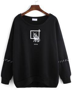 Black Round Neck Dog Print Lace Up Sweatshirt 18.54