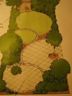 Long thin garden with interest from assorted overlapping circles of lawn and paving.