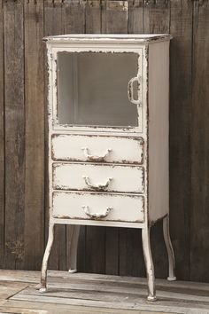 Distressed Metal Cabinet with 3 drawers