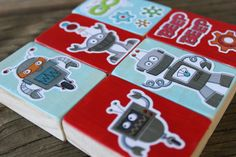 Robot wooden block set toy by made4munchkins on Etsy, $15.00