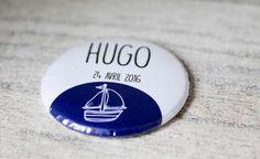 Badge personnalisé (épingle ou aimant), baptême, mariage ou anniversaire, cadeau invité