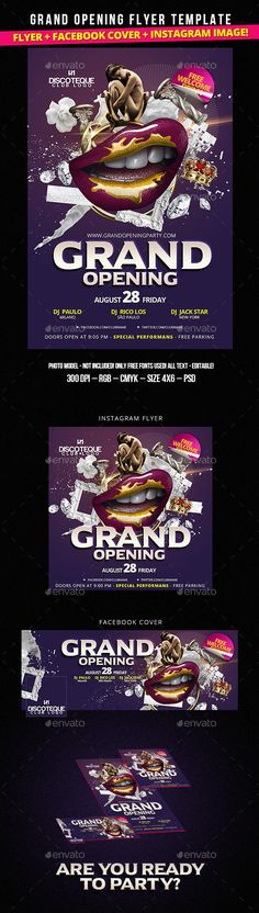 Grand Opening Party Flyer Template - Fashion Style. Check it: http://graphicriver.net/item/grand-opening-party-flyer-template-fashion-style/12388721?ref=bigweek #grand #grandopening #newseason #party #lips #sexygirl #summer #autumn #nightclub #clubparty #event #new #flyer #facebookcover #instagram #promo #promotional #fashion #bright