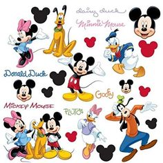 5df318a55 Roommates Mickey And Friends Peel & Stick Wall Decal, 30 Count 30 decals,  ranging from x inches to 10 x inches Easy to apply - just peel and stick  Applies ...