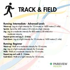 A full week of workouts inspired by Rio - Try this free #running workout with warm up, sprints, jog and cool down | via @ParkviewHealth